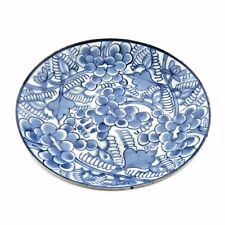 Antique Japanese Porcelain Bowl Plate Dish Blue and White Grapes Pattern 7 Inch