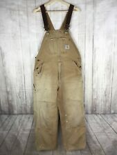 CARHARTT MENS DUCK OVERALLS BIBS UNLINED WORK PANTS SZ 38 X 30 TAN COTTON