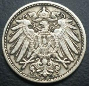 Germany 1890-J GERMAN EMPIRE 5 PFENNIG KM# 11 VINTAGE OLD EUROPEAN COIN FOREIGN