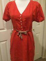 J.Crew Factory Women/'s M NWT Orangish-Red Cerise Gauze Cotton Drop Waist Dress