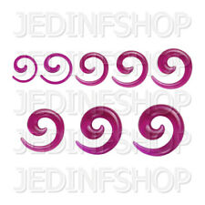 Ear Taper Lobe Stretcher - Spiral Snail   1.6mm-10mm   Purple Solid Acrylic