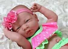 "Summer Girl Preemie Berenguer Newborn Baby Doll Clothes Alive Vinyl 14"" lifelike"