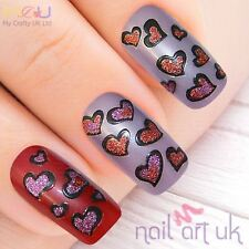 Red and Purple Glitter Heart Nail Stickers, Decals, Art 01.02.009