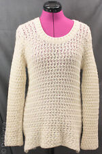 4d49ac66b8 Peregrine Made in England 100% Wool Ivory Textured Open Weave Sweater Sz S  EUC