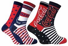 Coca Cola - 2 Pairs Ladies Stars and Stripes Patterned Novelty Cotton Rich Socks