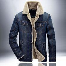 Men Winter Fur Lined Fleece Denim Jean  Outerwear Jacket Coat Parka M-4XL