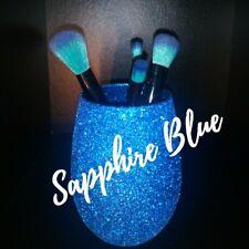 Custom glitter makeup brush holder sapphire blue