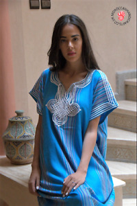 Handmade Moroccan blue kaftan with multi coloured stripes