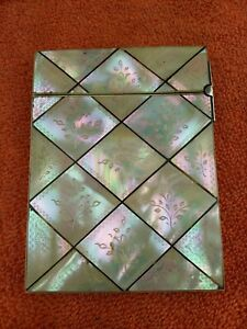 Antique Engraved Mother Of Pearl Card Case With F. Tortoise Shell Beading C1880