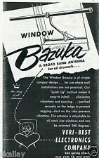 1951 Print Ad of Veri-Best Electronics Co Bazuka Window Broad Band Antenna