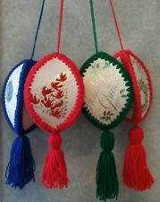 Set of 4 Handcrafted/Handmade Large Yarn Hanging Christmas Ornaments