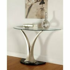 Furniture of America Mansa Glass Top Console Table in Satin