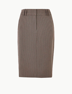 M&S Marks Spencer Checked Pencil Midi Skirt Brown BNWT