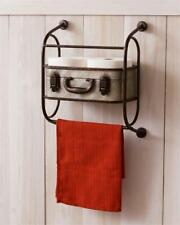 Suitcase new Wall Shelf containerwith Towel Bar in distressed Tin