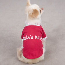 SANTA'S BABY Dog Puppy TEE Shirt Onesie Christmas Holiday RED Size:Teacup