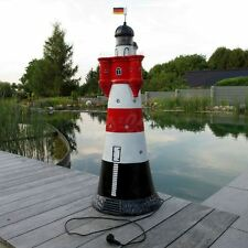 LEUCHTTURM ROTER SAND 120 cm BLINKLICHT rot-weiß Garten Deko Figur NORDSEE Meer
