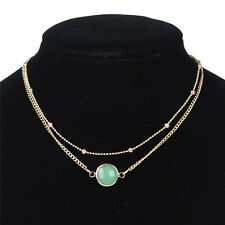 Crystal Pendant Choker Necklace Multi-layer Bead Boho Gold  Chain Necklace MW