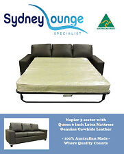 Brand New- AUS MADE Napier 3 seater Leather Lounge with Queen 6'' Latex Sofa Bed