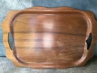 Mid-Century Bent Wood Walnut Serving Tray by Overton
