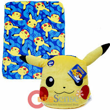 Pokemon Fleece Throw Blanket with Pikachu Face Plush Pillow Cushion Set