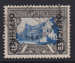 SOUTH AFRICA 1950: nicely used 10/- blue & charcoal OFFICIAL SG O51 c.v. £22