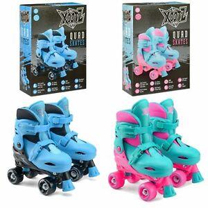 Xootz Kids Roller Skates Blue or Pink Boys Girls Quad Boots in Size 9-12 or 13-3
