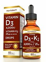 Vitamin D3 4000IU + K2 MK7 25ug | 60 ml Liquid Drops | High Strength Immune