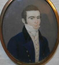BELLE Georgiano francese ritratto in miniatura di affascinante giovane Gentile firmato gregoman