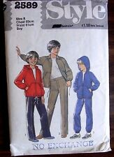 Style Sewing Pattern No. 2589 Boys track suit size 8 UNCUT