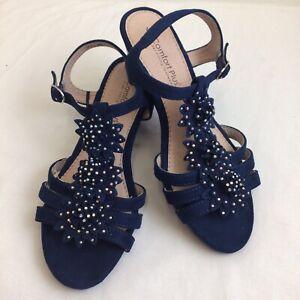 Comfort Plus Size 4 Blue Wedge Heels Womens Shoes Navy Flower Suede Ladies