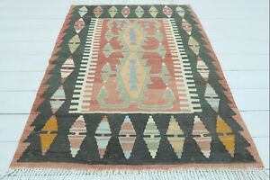 "Turkish Esme Small Kilim, Doormat, Bathmat, Small Area Rug, Carpet Tapis 37""x49"""