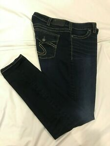 (*-*) SILVER JEANS * Womens SUKI MID SUPER SKINNY Blue Jeans * Size 16