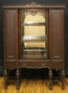 Antique Vintage Wood Wooden Bowed Glass Curio China Cabinet Server Breakfront