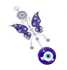 """Large Blue Evil Eye 4"""" Butterfly Amulet Protection Wall Hanging Home Decor Gift"""