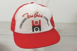 Vintage 1980's Chicago Fire Brick Company Trucker Snapback Dad Hat Cap Foam Mesh