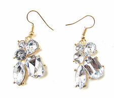 Art Déco Argent Boucles D'oreille Or 1920s Excellent Gatsby Diamante Goutte
