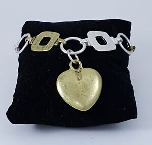 Matt Silver Antique Brass Squares Loops and Puffy Heart Charm Stacking Bracelet