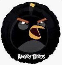 "4x 18"" Angry Birds Black Bird Foil Mylar Balloons."