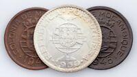 1942-1960 Mozambique Coin Lot of 3, 10c, 50c, 10 Escudos (XF, AU & BU Condition)