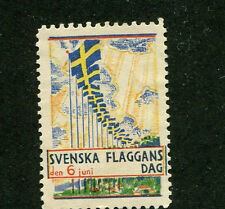 Vintage Poster Stamp Label SVENSKA FLAGGANS DAG 1933 Sweden Flag Day