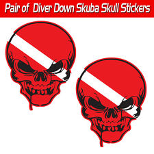 Pirate scuba decal diver down 'Skuba' skull graphic sticker pirate toolbox evil
