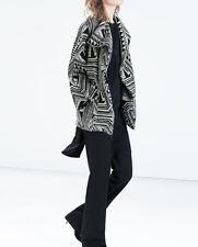Zara wool dolman sleeve geometry pattern coat-sz M-NWT