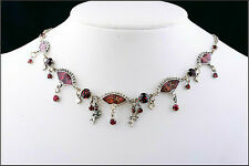 NEW PILGRIM SILVER PLATED CHAIN NECKLACE RED SWAROVSKI CRYSTALS ANGELS ENAMEL