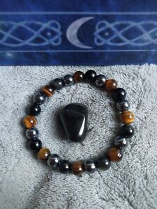 White witch protection crystal healing bracelet tigers eye,  black obsidian