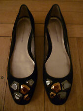 DVF DIANE VON FURSTENBERG Black Suede Flat Shoes with Metal Chunks