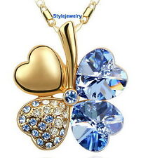 Rose Gold Plate Blue Crystal Love Heart Four Leaf Clover Necklace N301