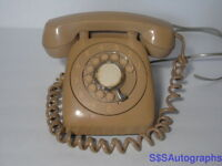 Vintage AUTOMATIC ELECTRIC Tan Beige Desktop Rotary Dial Telephone NO LETTERS