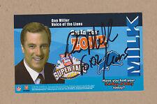 Dan Miller signed 5x3 Detroit Lions color photocard-WJBK FOX 2 Detroit Announcer