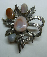 Vintage Scottish Agate Brooch Pin Four Different Stones 1960s