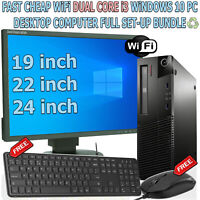 FAST CHEAP WiFi DUAL CORE i3 WINDOWS 10 PC DESKTOP COMPUTER FULL SET-UP BUNDLE